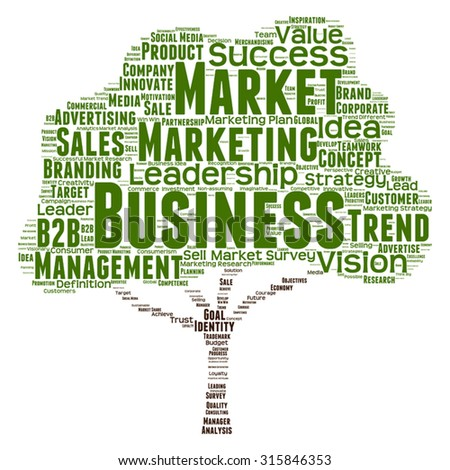 Vector concept or conceptual green tree word cloud or wordcloud on white background as metaphor to business, trend, media, focus, market, value, product, advertising, leadership customer or corporate - stock vector