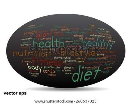 Vector concept oval or ellipse abstract word cloud on black background as metaphor for health, nutrition, diet, wellness, body, energy, medical, fitness, medical, gym, medicine, sport heart or science - stock vector