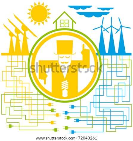 vector concept save the energy, with sun and wind - stock vector