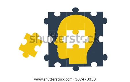Vector concept showing the idea of a human head created by jigsaw pieces with one jigsaw piece still not in place - stock vector
