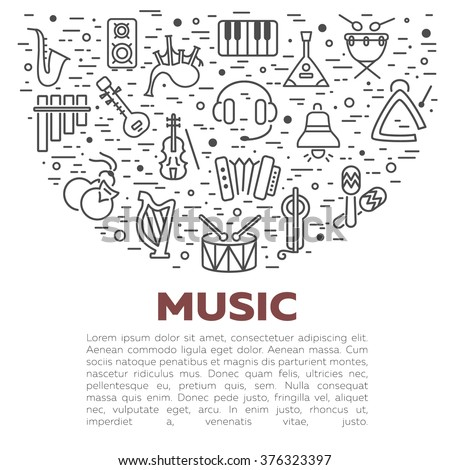 Vector concept with musical instruments in circle shape isolated. Set of music icons. Line style design.  Icons design for your product or design, web. - stock vector