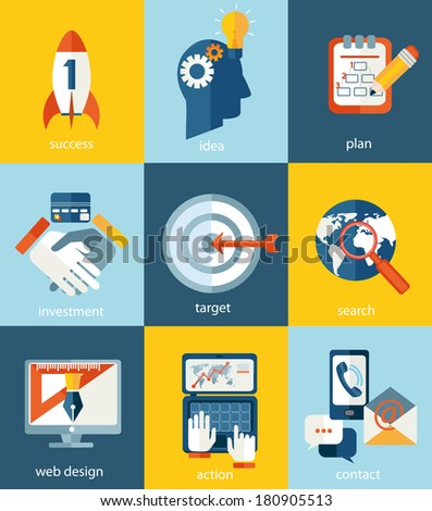 Vector concepts and icons in flat style - start up and innovation business signs and symbols.  - stock vector