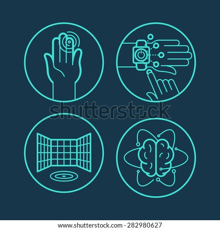 Vector concepts and icons in linear style - touchscreen interfaces and new technologies  - stock vector