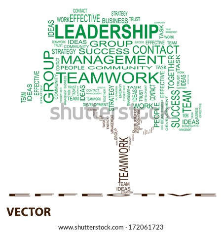 Vector Conceptual green leadership tree made of team text as wordcloud isolated on white background - stock vector
