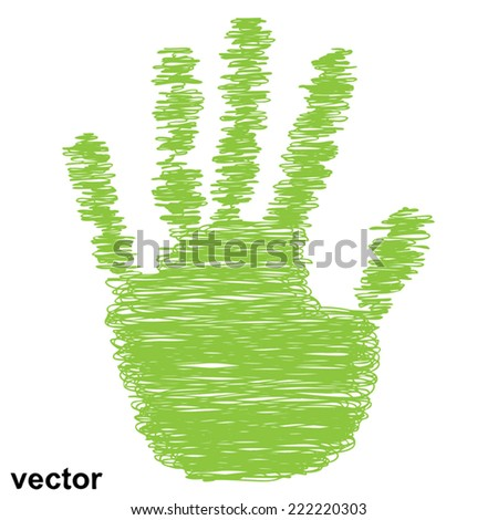Vector conceptual green painted drawing hand shape print isolated on white paper background, for handmade or manual, art, line, children, scribble, education, grungy or sketch design, made by a child - stock vector