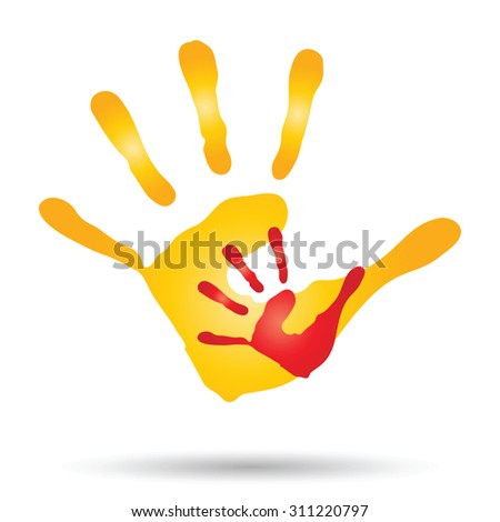 Vector conceptual human, mother, child hand prints painted, isolated on white background for art, care, childhood, family, fun, happy, infant, symbol, kid, little, love, mom, motherhood, young design - stock vector