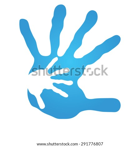 Vector  conceptual human or mother and child hand prints painted, isolated on white background  for art, care, childhood, family, fun, happy, infant, symbol, kid, little, love, mom, motherhood young - stock vector