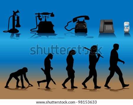 vector conceptual illustration comparing human and phone evolution, raster version available - stock vector