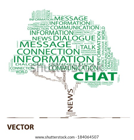 Vector conceptual white tree word cloud on white background, metaphor for communication, speech, message, mail, relation, dialog, talk, report, contact, stair, climb, email, internet wordcloud - stock vector