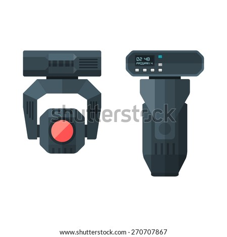 vector concert entertainment moving lighting head device flat style illustration various position view - stock vector