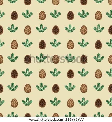 Vector cones and branches pattern - stock vector