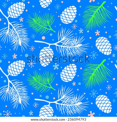 Vector cones and branches seamless pattern. Snowflake background. Seamless winter pattern with snowflakes. - stock vector