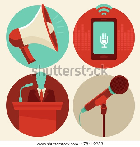 Vector conference icons in flat style - megaphone and microphone, public speaker and mobile phone recording sound - stock vector