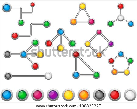 Vector - Connection Dots Colorful Circles - stock vector