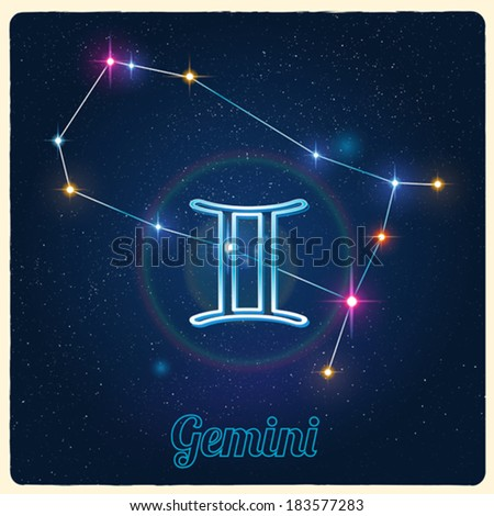 Vector constellation Gemini with the Zodiac sign - stock vector