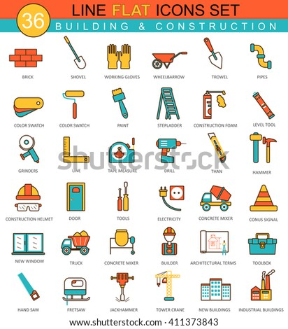 Vector Construction and building tools flat line icon set. Modern elegant style design  for web. Building tools icons, Building tools icons vintage, Building tools collection, Building tools flat line - stock vector
