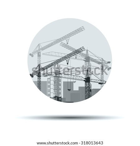 vector construction crane silhouette industry illustration architecture - stock vector