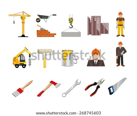 Vector construction flat icon set - stock vector