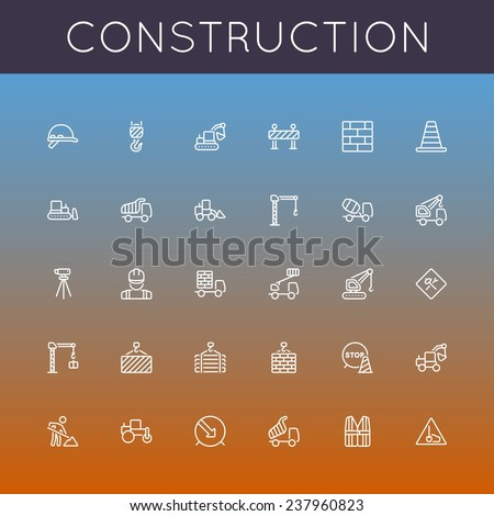 Vector Construction Line Icons - stock vector