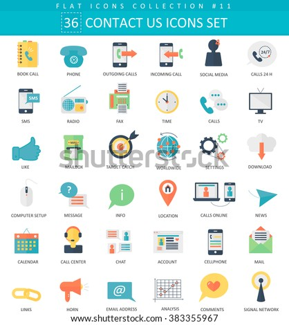 Vector contact us color flat icon set. Elegant style design support icons for web and apps. - stock vector