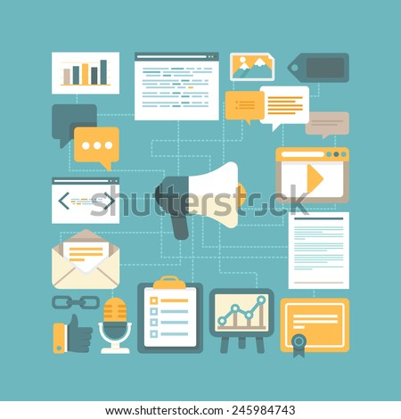 Vector content marketing concept in flat style - working with digital content and advertising - stock vector