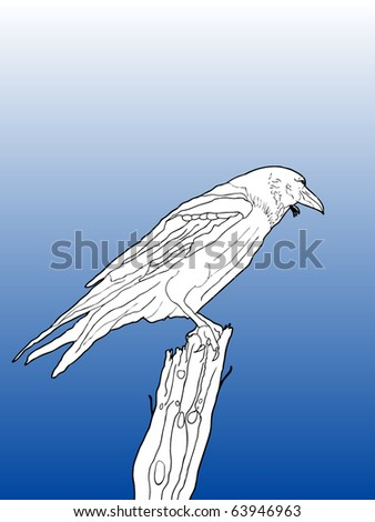 vector contour line drawing of a crow on a branch with simple background for easy editing - stock vector