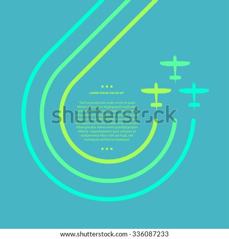 Vector contrast bright business avia card with biplanes, minimalistic style, whirlwind of airplane, for travel agencies, aviation companies - stock vector