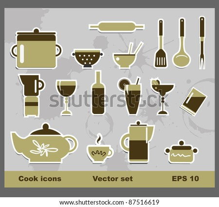 Vector cook icons - stock vector