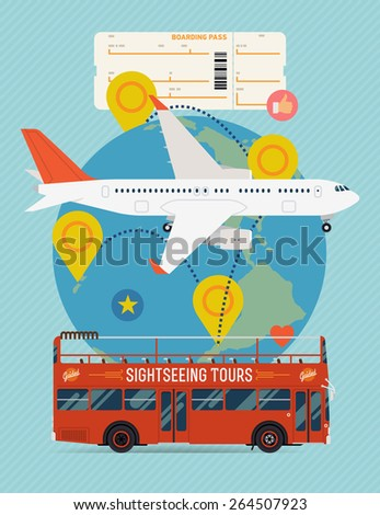 Vector cool flat design web banner on airline tickets and travel with jet airliner flying, sightseeing bus, boarding pass ticket and globe with clouds, route marks and location pins - stock vector