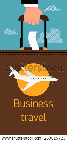 Vector cool flat vertical web banner on business trip and travel with business jet airliner, abstract businessman's hand holding luggage suitcase, and clouds | Business class airline printable poster - stock vector