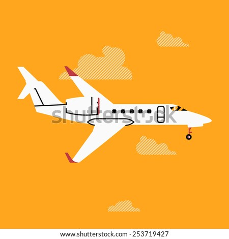 Vector cool four colors flat design web icon on commercial transport passenger business jet air plane airliner, side view with wings - stock vector