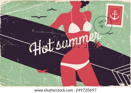 Vector cool retro postcard printable decorative visual on summer vacation, beach ocean coast, water activities, surfing and bikini with abstract young woman in swim suit silhouette holding surfboard - stock vector