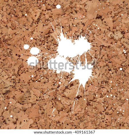 Vector cork board texture with white paint splashes. Element for your designs, promotional sales and other your projects. Just add your text - stock vector