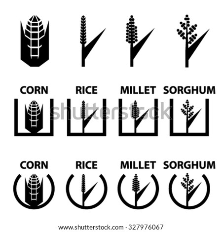 vector corn rice millet sorghum cereal symbols - stock vector