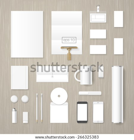 Vector corporate identity mock up collection. High quality design elements. - stock vector