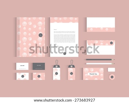 Vector corporate identity mock up. Pink rose seamless pattern with abstract symbol. - stock vector