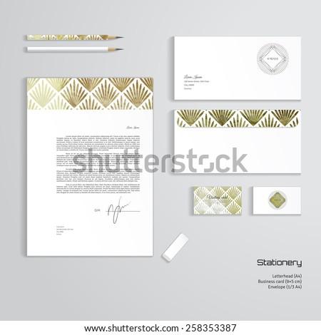 Vector corporate identity templates. Letterhead, envelope, business card, pencils, eraser. Modern golden foil pattern. Geometric frame in form of cut gems with a sun burst.  - stock vector