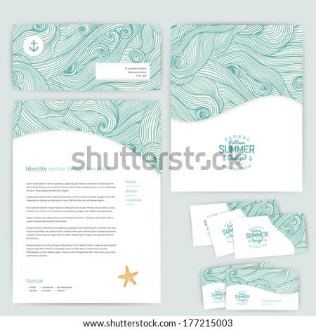 Vector corporate identity, wave pattern. Abstract backdrop. Maritime banner design template. Brand, visualization, corporate identity business set. Identity Design Template. Card, envelope. - stock vector