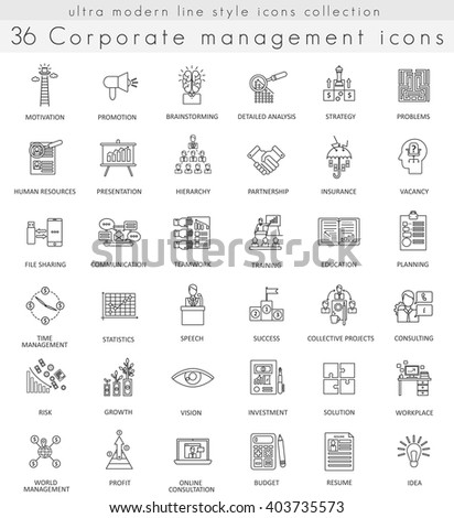 Vector Corporate management ultra modern outline line icons for web and apps. Management icons set, Management icons collection, Management line icons, Management icoms picture. - stock vector