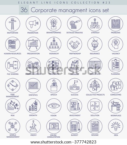 Vector Corporate managment outline icon set. Elegant thin line style design. Managment icons set, Managment icons collection, Managment icons image, Managment line outline icons. - stock vector