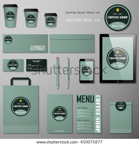 Vector corporate style coffee shop design template set . Branding layout. illustration - stock vector