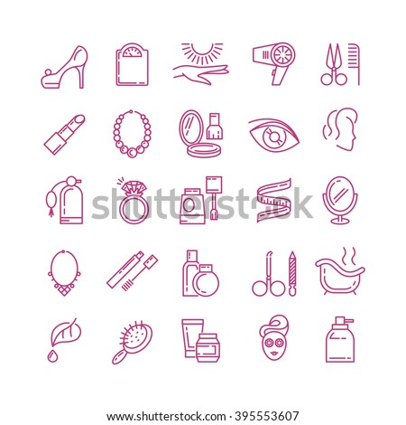 Vector cosmetics line icons. Cosmetic perfume, lipstick cosmetic, powder outline cosmetic icon illustration - stock vector
