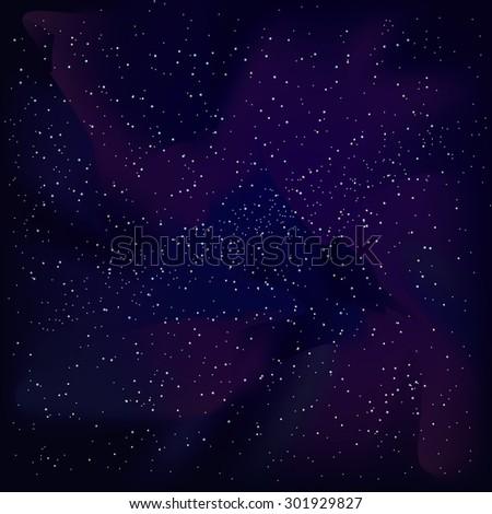 Vector cosmic sky with interstellar gas (cosmic clouds) - stock vector