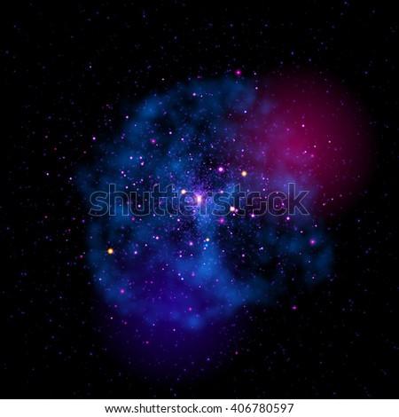 Vector cosmic stardust cloud. Strafield nebula mist. Bright constellation of stars in shining galaxy. - stock vector