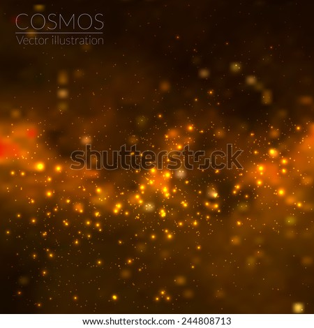 Vector cosmos illustration with stars and galaxy - stock vector