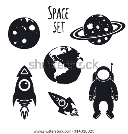 Vector cosmos space set. Illustration with spaceman, rockets, Earth, Moon and Saturn - stock vector