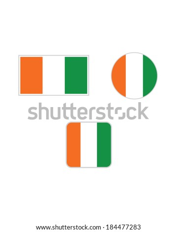 Vector Cote Divoire Flag and Icon Set - stock vector