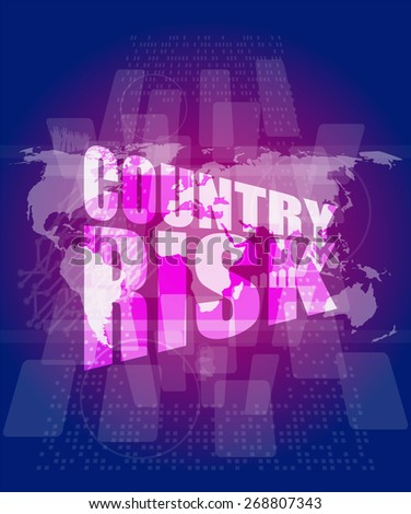 vector country risk words on digital screen with world map - stock vector