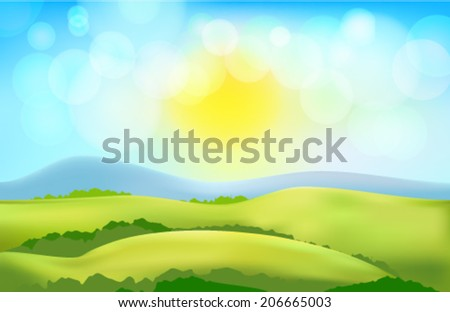 vector countryside  landscape - stock vector