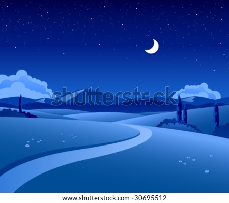 Vector countryside landscape by night - stock vector